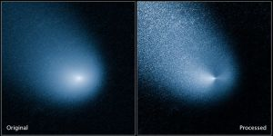 De komeet Siding Springs gefotografeerd door de Hubble Space Telescope